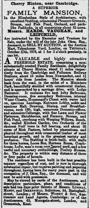 Cherry Hinton Hall - Advertisement for Cherry Hinton Hall in 1870.