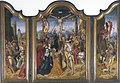 Adriaen van Overbeke and workshop of Adriaen van Overbeke - Tryptich of crucifixion with scenes of the carrying of the cross and the resurrection.jpg