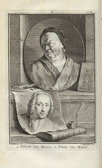Willem van Mieris - Willem van Mieris (top) and his father Frans, illustration by Aert Schouman and Jacob Houbraken for Jan van Gool's Nieuwe Schouburg