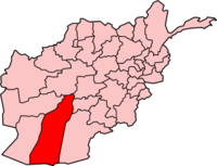 Map of Afghanistan with Helmand  هلمند highlighted.