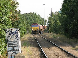 Angerstein Wharf - Image: Aggregate train from Angerstein Wharf geograph.org.uk 513188