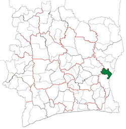 Location in Ivory Coast. Agnibilékrou Department has retained the same boundaries since its creation in 1995.