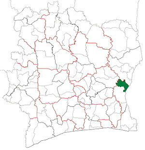 Agnibilékrou Department - Image: Agnibilékrou Department locator map Côte d'Ivoire