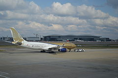 Aircraft being pushed back, Heathrow - geograph.org.uk - 3398887.jpg