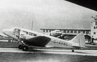 Airspeed Envoy - The last surviving Airspeed Envoy, operated by Private Charter Ltd at Manchester (Ringway) Airport in 1948