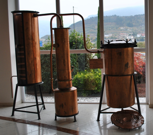Grappa - Retort for continuous steam distillation dated from around 1960