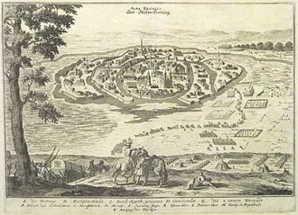 "Székesfehérvár Basilica - Merian's Theatrum Europaeum presents an almost peaceful exit (N) of the Turkish garrison out of an undestroyed Székesfehérvár after the Christian interim reconquest in 1601; G = ""main church"" – the basílica"