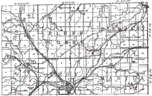 Albia, Iowa - Map of the Albia area from 1908, showing the railroads, mining camps and coal mines (shown in red).