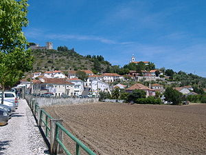 Alcanede - The village of Alcanede with the Castle of Alcanede on the hilltop in the background