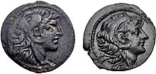 Two coins. Obverses are shown. To the left, a coin of Alexander I depicting him wearing a headdress in the shape of a lion head. On the right, a coin of Alexander II depicting him wearing the same headdress