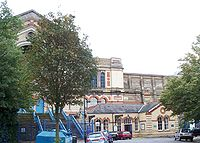 The disused Alexandra Palace railway station, dwarfed by the Palace itself