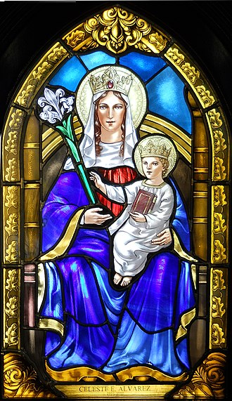 Our Lady of Walsingham - A stained glass window featuring Our Lady of Walsingham. All Saints Episcopal Church, Jensen Beach, Florida