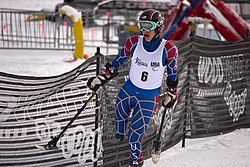 Allison Jones competing in the Super G during the second day of the 2012 IPC Nor Am Cup at Copper Mountain