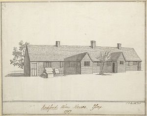 Almshouse - Drawing of almshouses in Rochford, 1787