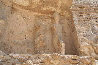 Amarna - Statues to the left of Boundary stela U in el-Amarna
