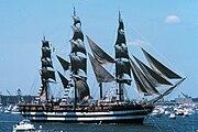 Italian tall ship Amerigo Vespucci in New York Harbor during the United States Bicentennial celebration.