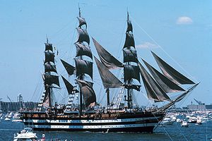 Tall Ships' Races - Italian tall ship Amerigo Vespucci in New York Harbor, 1976.