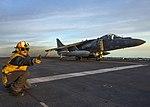 An AV-8B Harrier takes off from USS Wasp (LHD 1). (30651618313).jpg