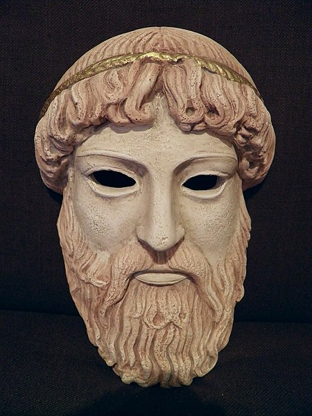 File:Ancient Greek theatrical mask of Zeus, replica (8380375983).jpg