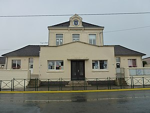 Andres, Pas-de-Calais - The school and former town hall of Andres