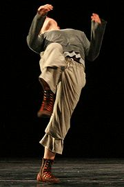 Dancer Anna Luise Recke performing a contemporary dance piece by Joerg Schiebe (Berlin 2007)