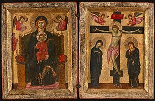 Diptych with the Virgin and Child Enthroned and the Crucifixion