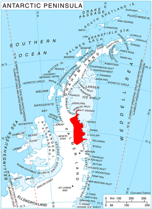 Delisle Inlet - Location of Wilkins Coast on Antarctic Peninsula.