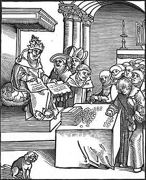 Historicist interpretations of the Book of Revelation - Passional Christi und Antichristi, by Lucas Cranach the Elder, from Luther's 1521 Passionary of the Christ and Antichrist. The Pope is signing and selling indulgences.