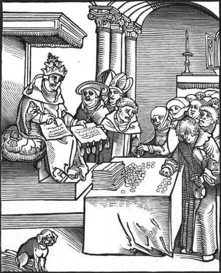 Passional Christi und Antichristi, by Lucas Cranach the Elder, from Luther's 1521 Passionary of the Christ and Antichrist. The Pope as the Antichrist, signing and selling indulgences. Antichrist1.jpg