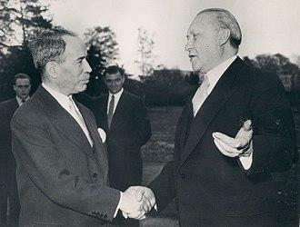 Antoine Pinay - Antoine Pinay with German Chancellor Konrad Adenauer, 1955.