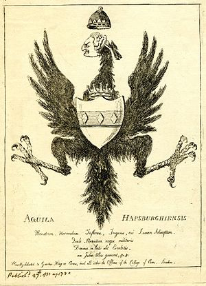 William Feilding, 1st Earl of Denbigh - Satirical print of the arms of the Feilding family superimposed on the Habsburg double-headed eagle lacking one head, dedicated to the Garter King of Arms and mocking the family's pretensions at ancestral connections to the Habsburg dynasty.