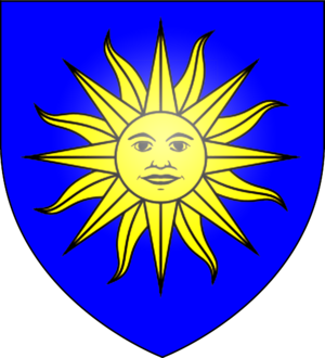 Azure (heraldry) - Image: Arms of the St Cleere family of St Osyth, Essex