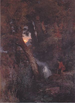 Will-o'-the-wisp - An 1882 oil painting of a will-o'-the-wisp by Arnold Böcklin