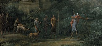 Ascanius Shooting the Stag of Sylvia - The group of hunters