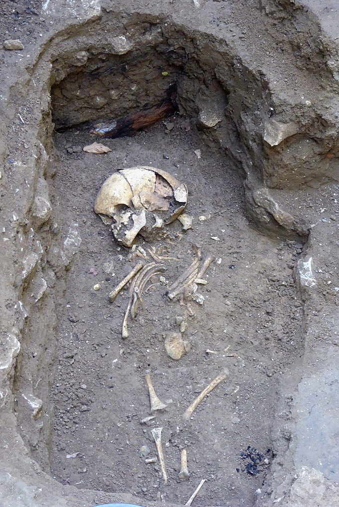 Fotografie menschlicher Gebeine in einem Erdgrab.