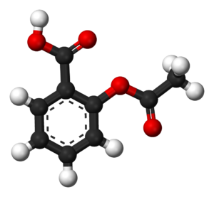 Mechanism of action of aspirin - Tridimensional model of the chemical structure of aspirin.