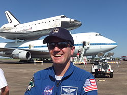 Astronaut Rex Walheim In Front Of Space Shuttle Endeavour