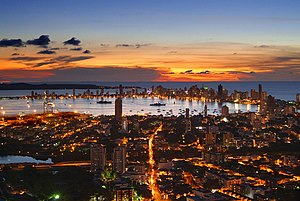 Atardecer en la bahia de Cartagena de Indias, ...