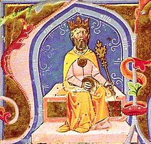 A bearded man sitting on a throne wearing a crown