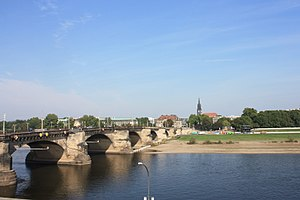 Innere Neustadt (Dresden) - Augustusbrucke and Neustadt viewed from the south bank of the Elbe in Dresden