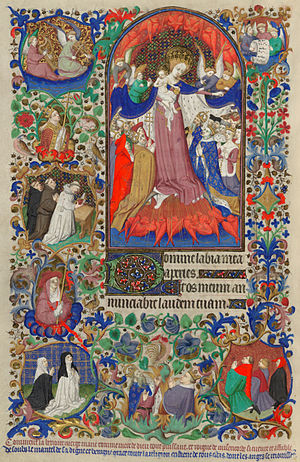 Bedford Master - Page from the Bedford Hours, 1423, illumination on parchment, 41 cm × 28 cm. British Library.