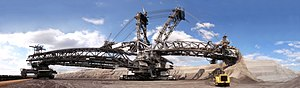 Surface mining - The Bagger 288 is a bucket-wheel excavator used in strip mining.
