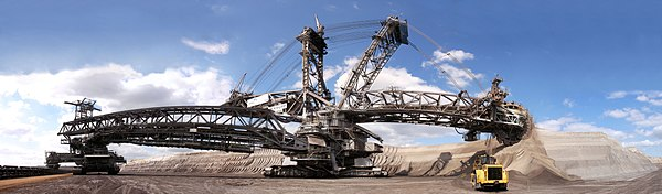 The Bagger 288 is a bucket-wheel excavator used in strip mining. It is also one of the largest land vehicle of all time. Bagger-garzweiler.jpg