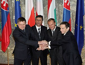 Jan Fischer (politician) - The leaders of the Visegrád Group: Robert Fico, Jan Fischer, Donald Tusk and Gordon Bajnai.