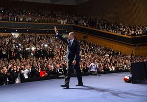 International Convention Center (Jerusalem) - US President Barack Obama waving students after the speech, March 2013