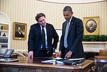 Barack Obama with Cody Keenan in the Oval Office, July 23, 2013.jpg
