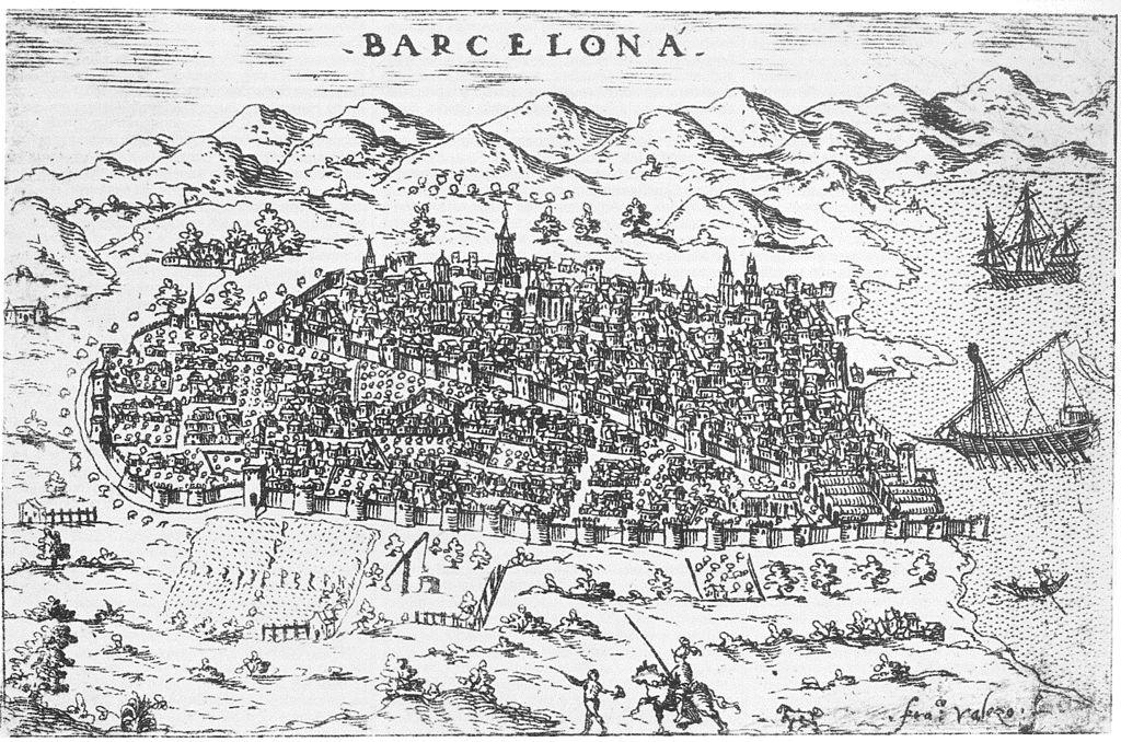 Barcelone en 1579, aujourd'hui le quartier du Raval au premier plan, le Gotico au 2e plan.