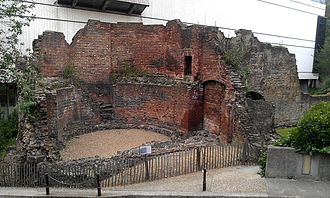 London Wall - Bastion 14 in London Wall, which is overlooked by the Museum of London.