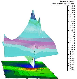 Battle Mountain, Virginia - Theorized original appearance of Battle Mountain at 704 million years ago by Woolman (2016). Elevation shown in meters.