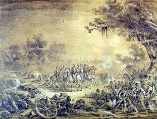 Barão de Porto Alegre liderando as tropas em Curzu